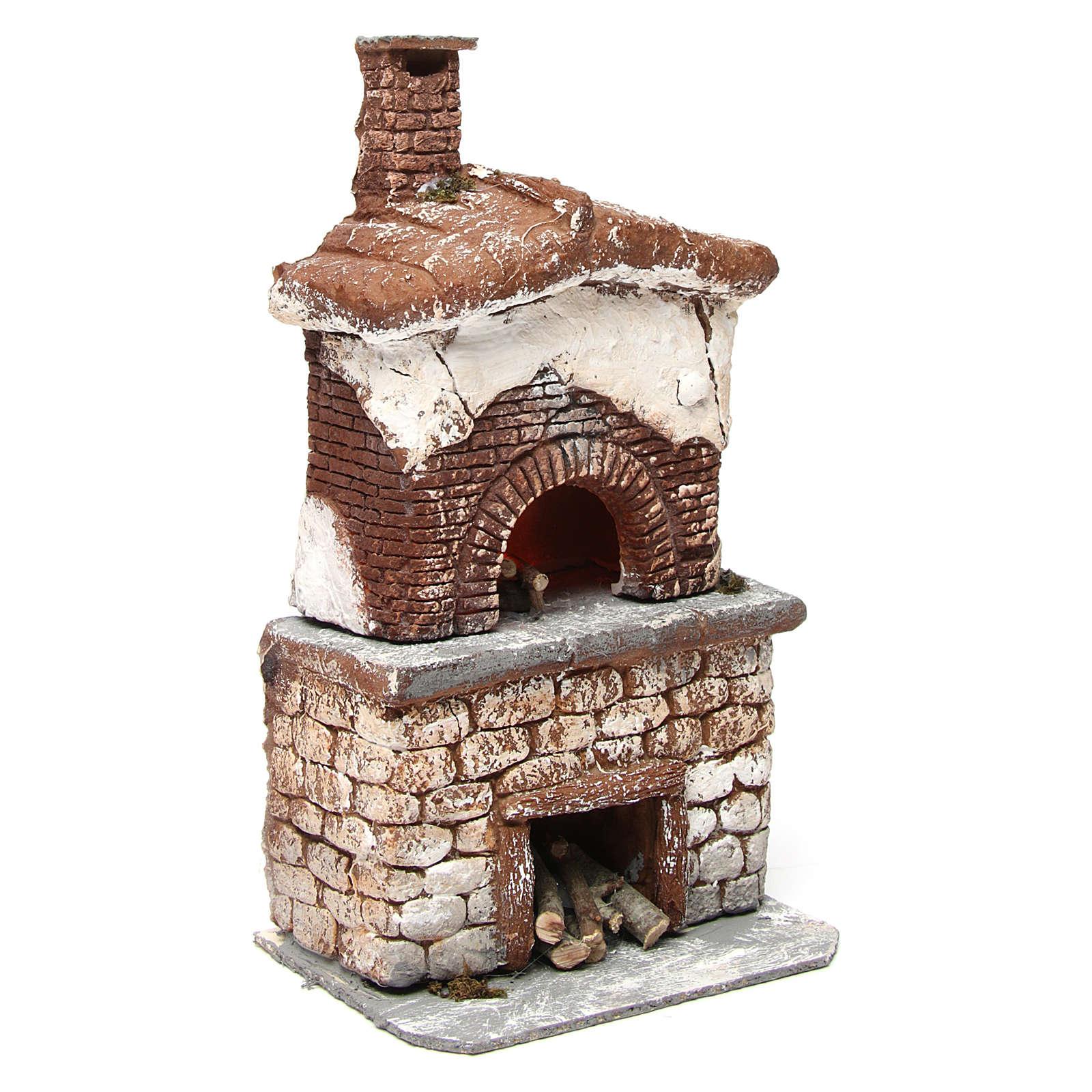 Oven with light in resin for Neapolitan Nativity Scene 30x15x10 cm 4