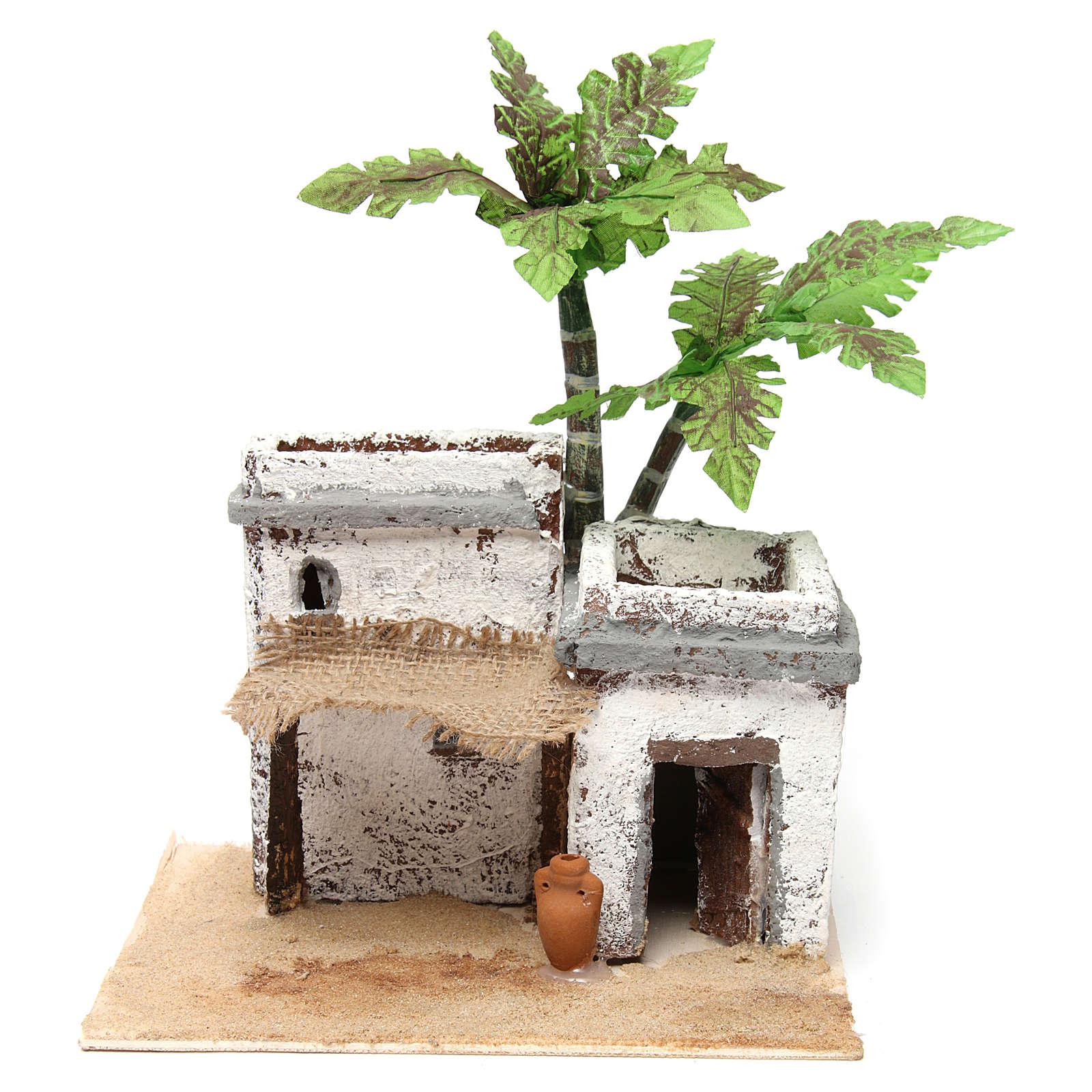 Casa doppia in stile arabo colonne piegate 20x20x20 cm in legno e resina 4