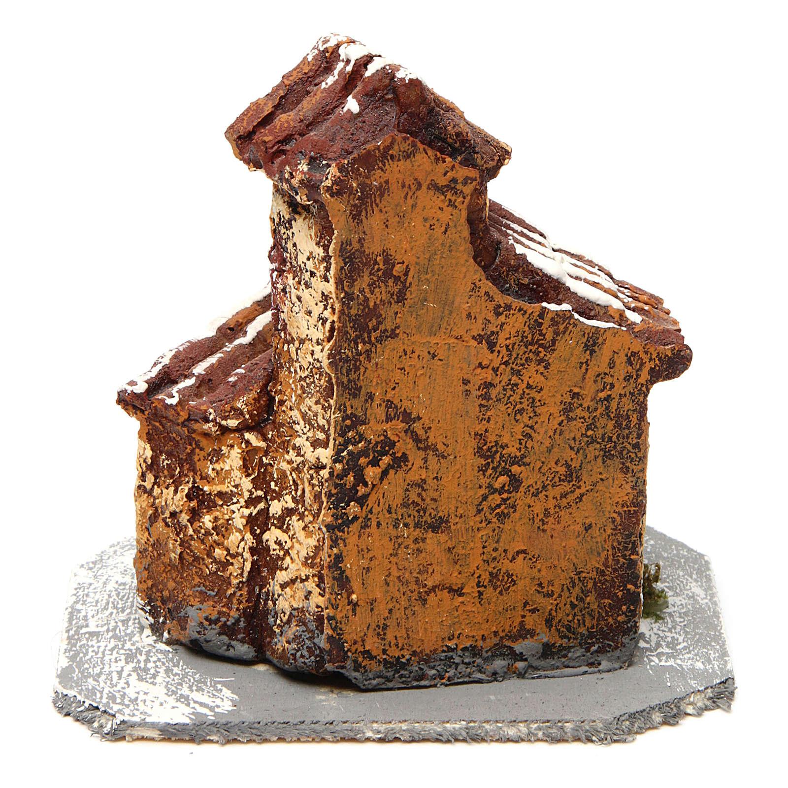 House in resin on wooden base mod. A for Neapolitan Nativity Scene 10x10x10 cm 4
