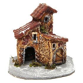 House in resin on wooden base mod. A for Neapolitan Nativity Scene 10x10x10 cm s1