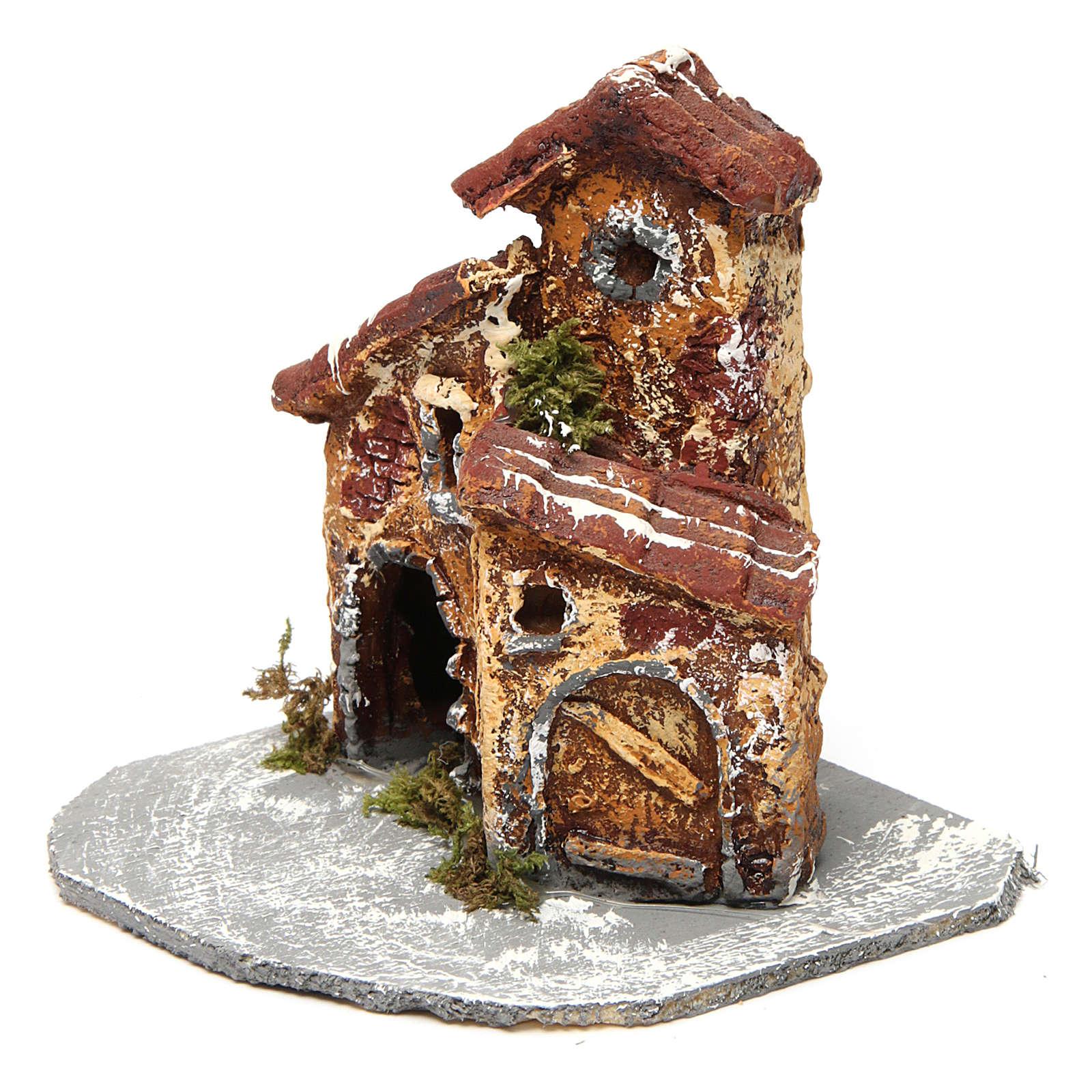 Casinha em resina com base de madeira modelo A 10x10x10 cm presépio napolitano 4