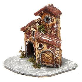 Casinha em resina com base de madeira modelo A 10x10x10 cm presépio napolitano s2