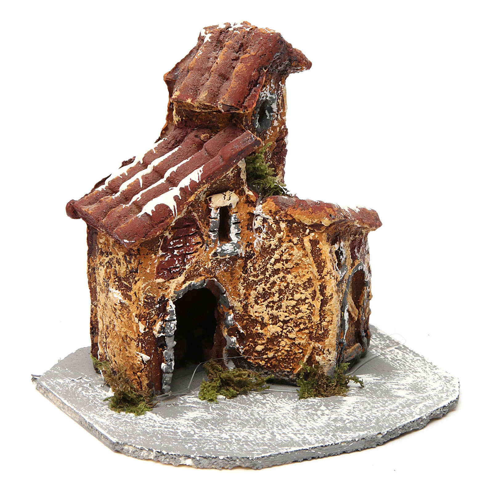 House in resin on wooden base mod. A for Neapolitan Nativity 10x10x10 cm 4