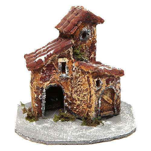 House in resin on wooden base mod. A for Neapolitan Nativity 10x10x10 cm 1