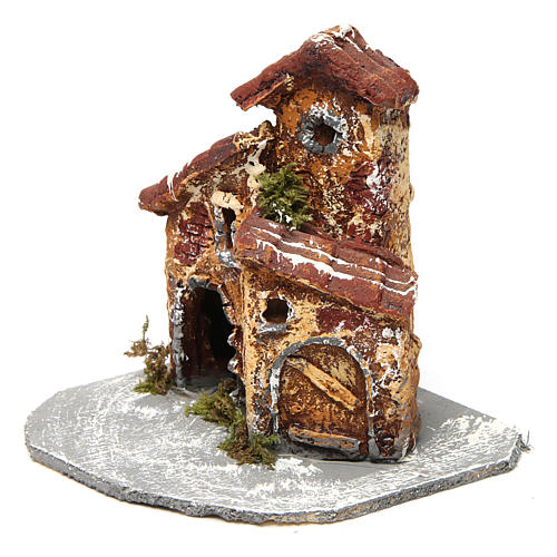 House in resin on wooden base mod. A for Neapolitan Nativity 10x10x10 cm 2