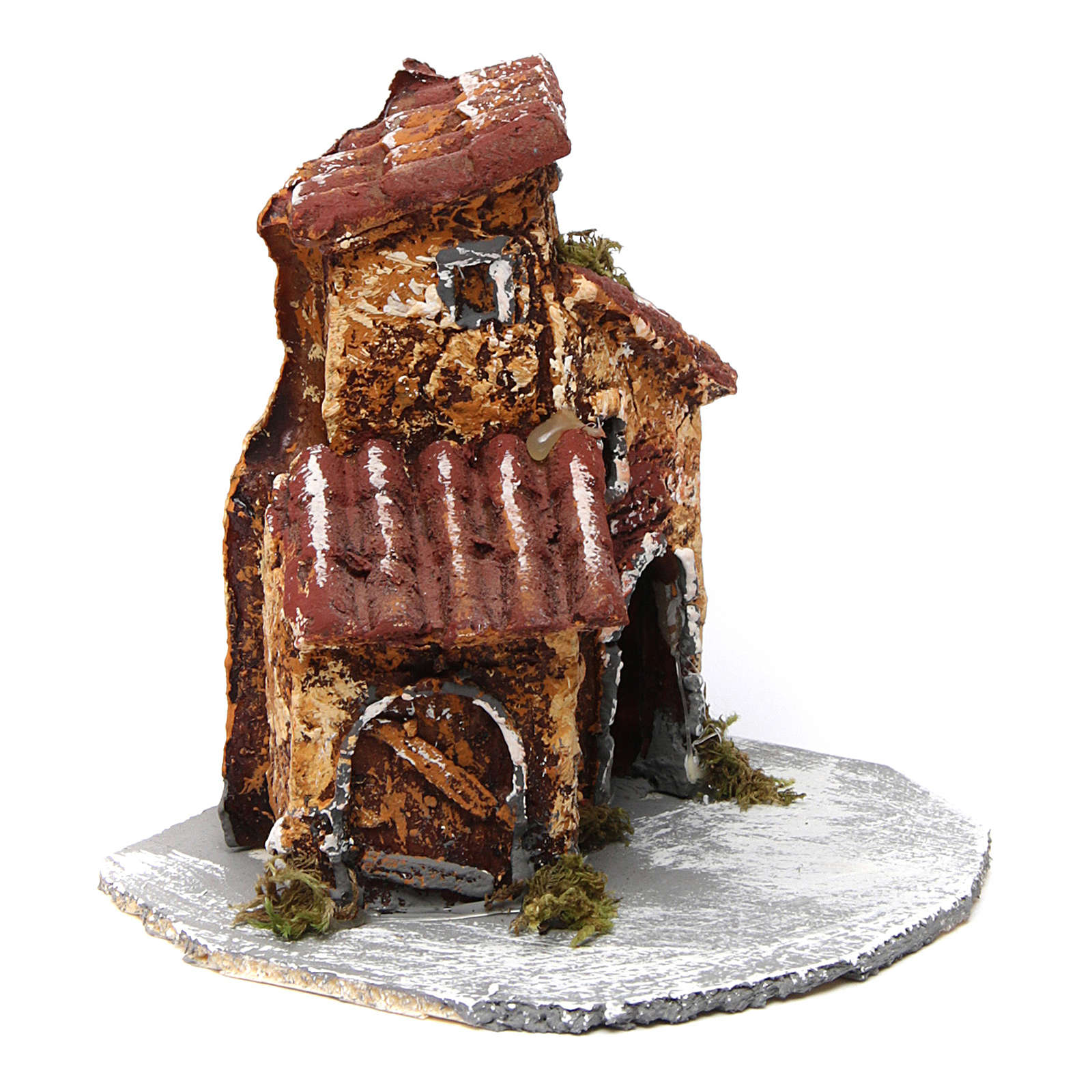 House in resin on wooden base mod. B for Neapolitan Nativity Scene 10x10x10 cm 4