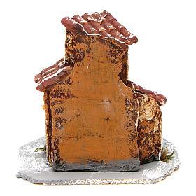 Maisonnette en résine base en bois mod. B 10x10x10 cm crèche napolitaine s4