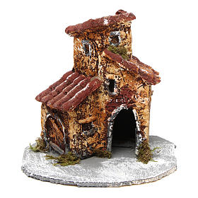 House in resin on wooden base mod. B for Neapolitan Nativity 10x10x10 cm s1