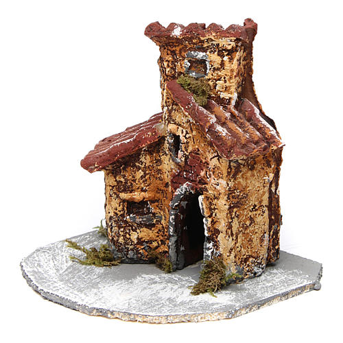 House in resin on wooden base mod. B for Neapolitan Nativity 10x10x10 cm 2