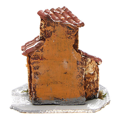 House in resin on wooden base mod. B for Neapolitan Nativity 10x10x10 cm 4