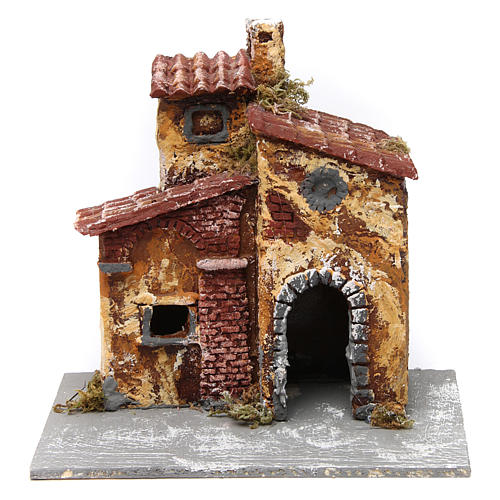 House with open door and oval window 15x15x15 cm, Neapolitan nativity scene 1