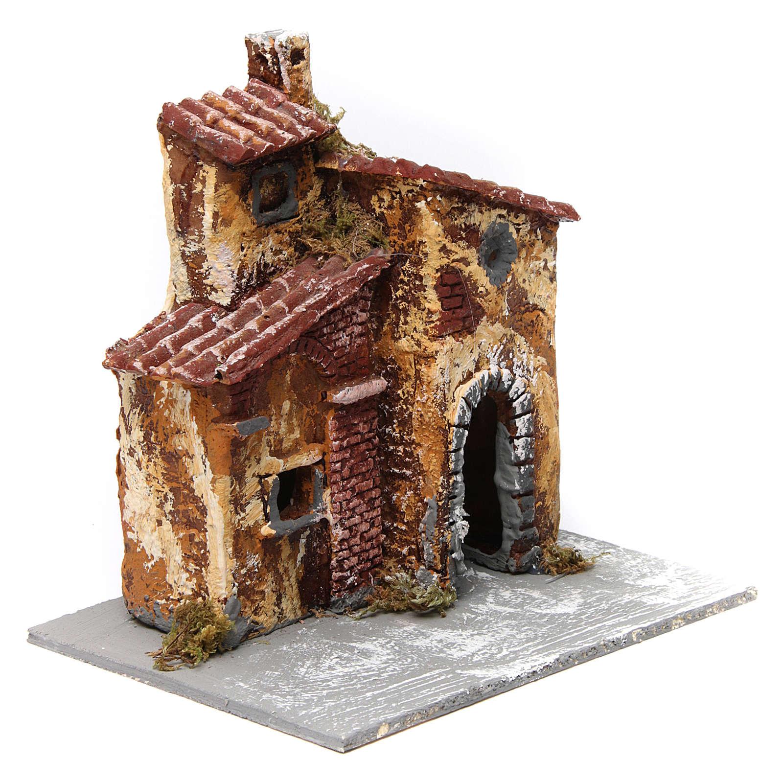 Maisonnette triple avec porte et fenêtre ovale ouvertes 15x15x15 cm crèche napolitaine résine base bois 4