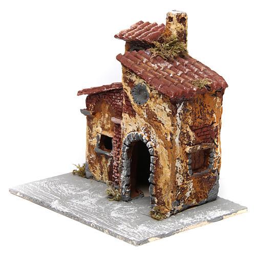 Maisonnette triple avec porte et fenêtre ovale ouvertes 15x15x15 cm crèche napolitaine résine base bois 2
