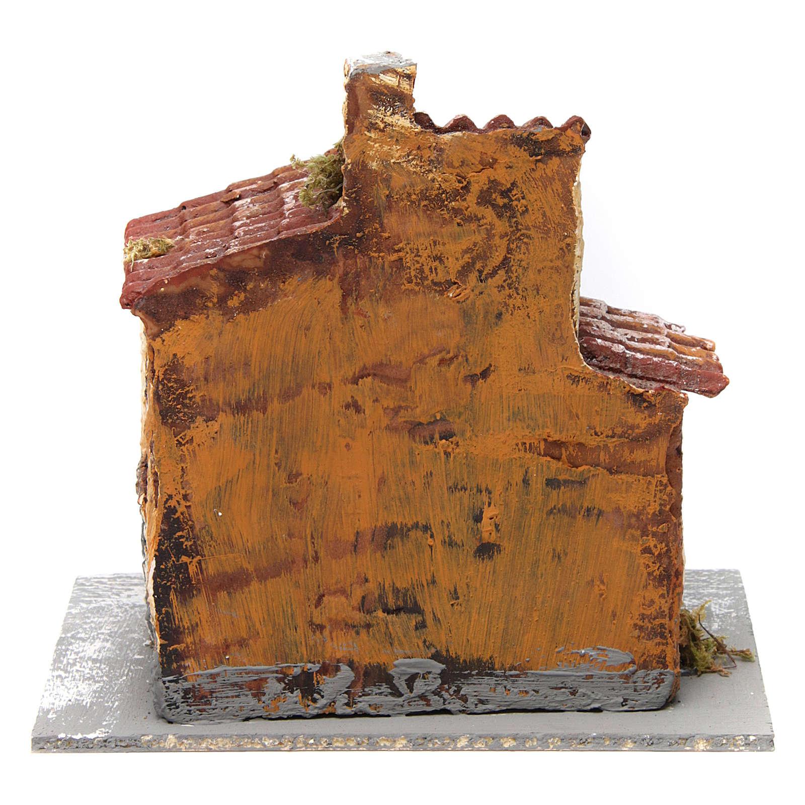 Casetta tripla con porta e finestra ovale aperte 15x15x15 cm presepe napoletano resina base legno 4