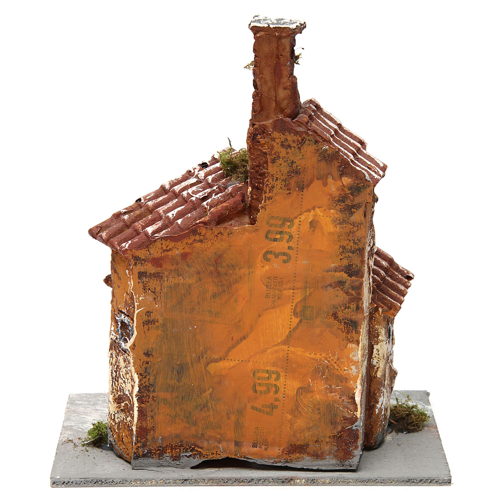 Three-house structure in resin on wooden base for Neapolitan Nativity Scene 20x15x15 cm 4