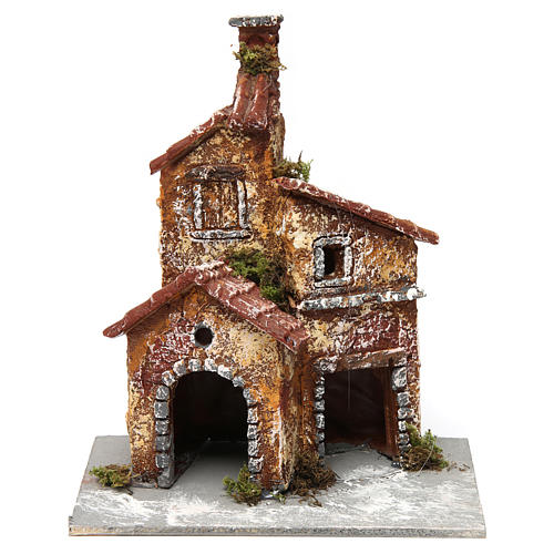 Three-house structure in resin on wooden base for Neapolitan Nativity Scene 20x15x15 cm 1