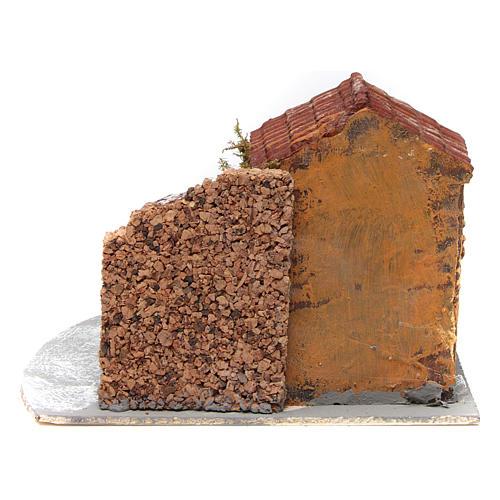 Casa in resina su base legno con porticato e portone aperto 15x20x20 cm presepe napoletano 4