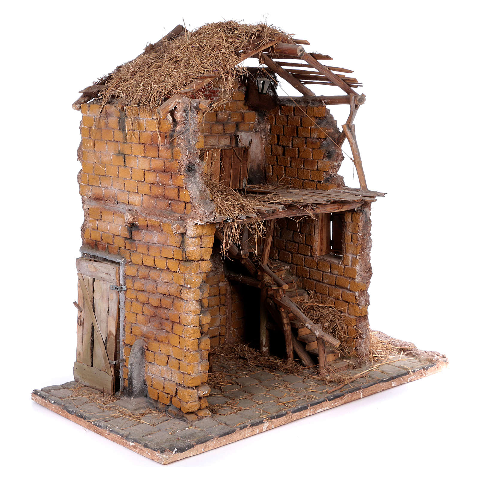 Stable in wood and cork for 30 cm statues 105x115x60 cm, Neapolitan nativity scene 4
