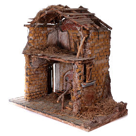 Stable in wood and cork for 30 cm statues 105x115x60 cm, Neapolitan nativity scene s2
