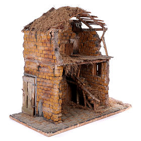 Stable in wood and cork for 30 cm statues 105x115x60 cm, Neapolitan nativity scene s3