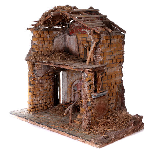 Stable in wood and cork for 30 cm statues 105x115x60 cm, Neapolitan nativity scene 2