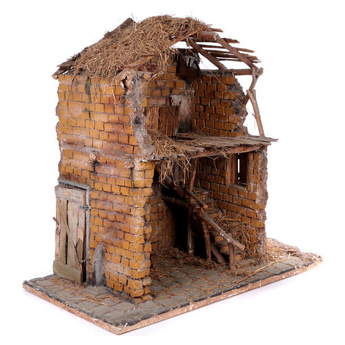 Stable in wood and cork for 30 cm statues 105x115x60 cm, Neapolitan nativity scene 3