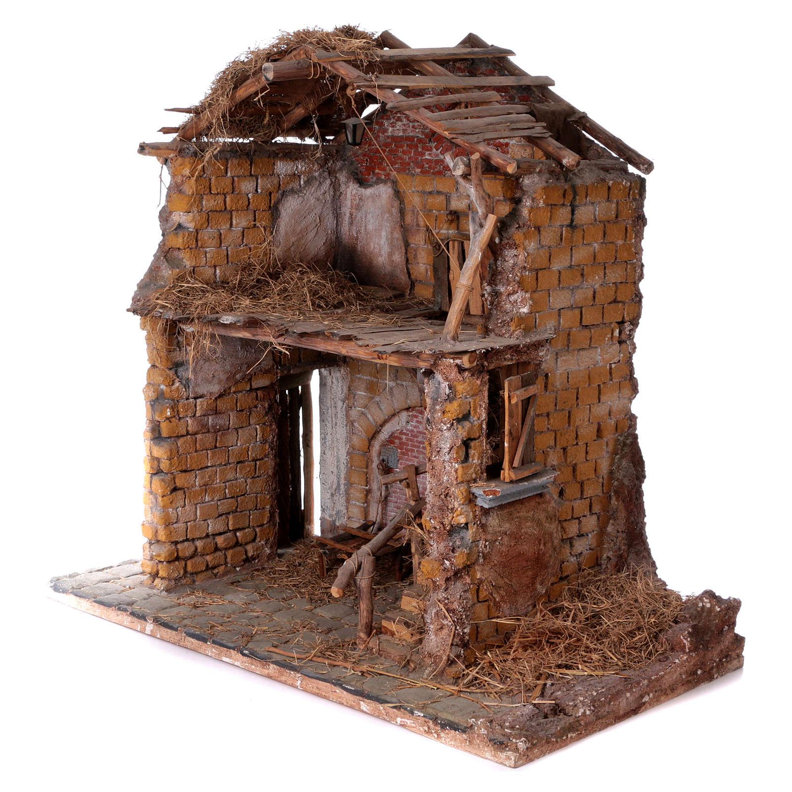 Stalla in legno e sughero per statue 30 cm dim. 105x115x60 cm ambientazione presepe napoletano 4
