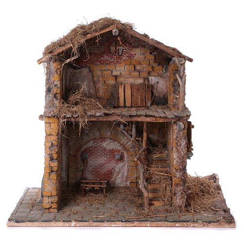 Stalla in legno e sughero per statue 30 cm dim. 105x115x60 cm ambientazione presepe napoletano 1