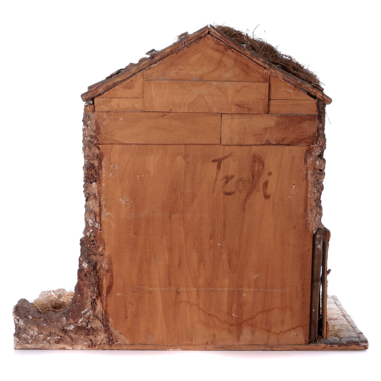 Estábulo em Madeira e Cortiça para Figuras de 30 cm, Ambientação Presépio Napolitano, 106x117x61 cm 4