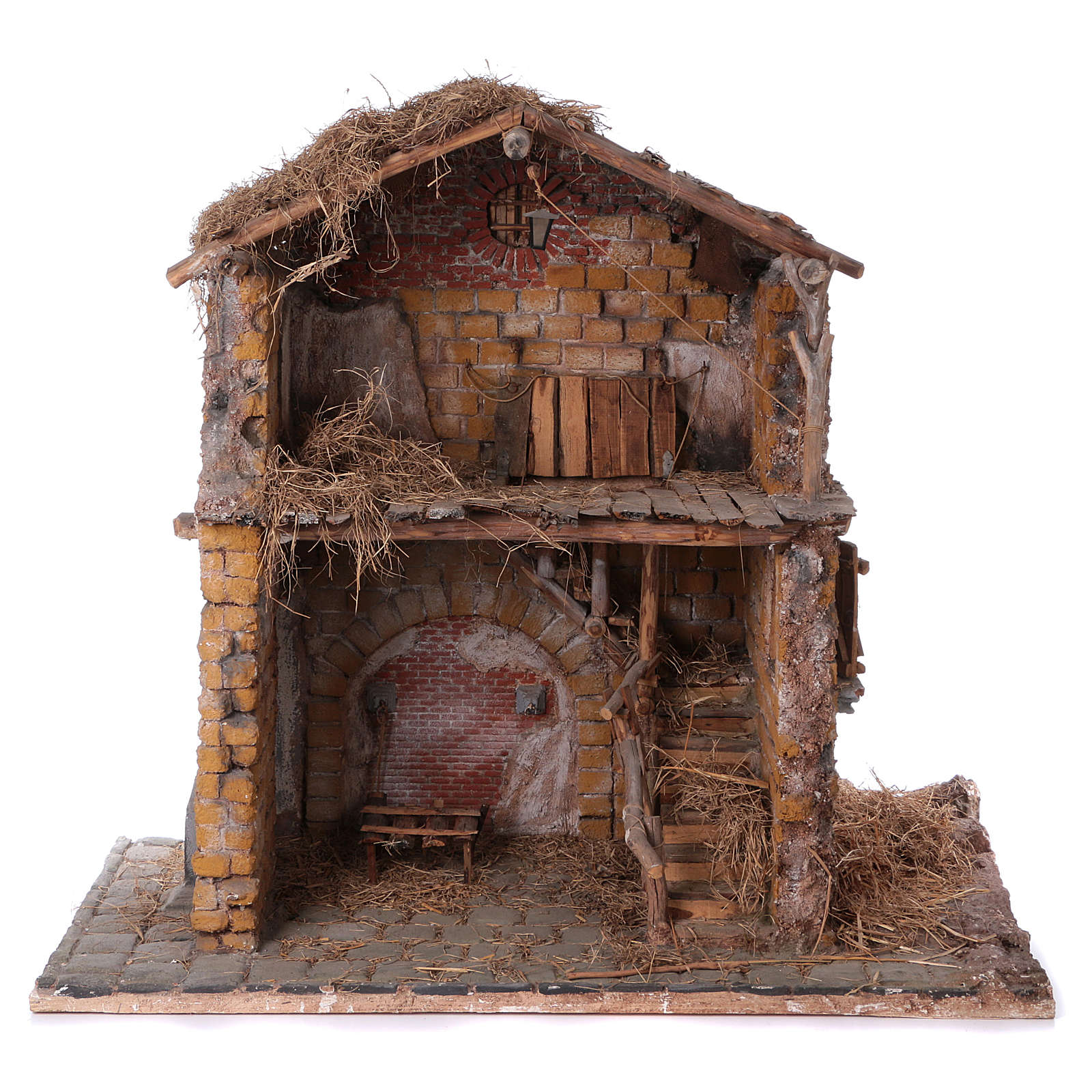 Wood and cork stable for 30 cm figurines 105x115x60 cm 4