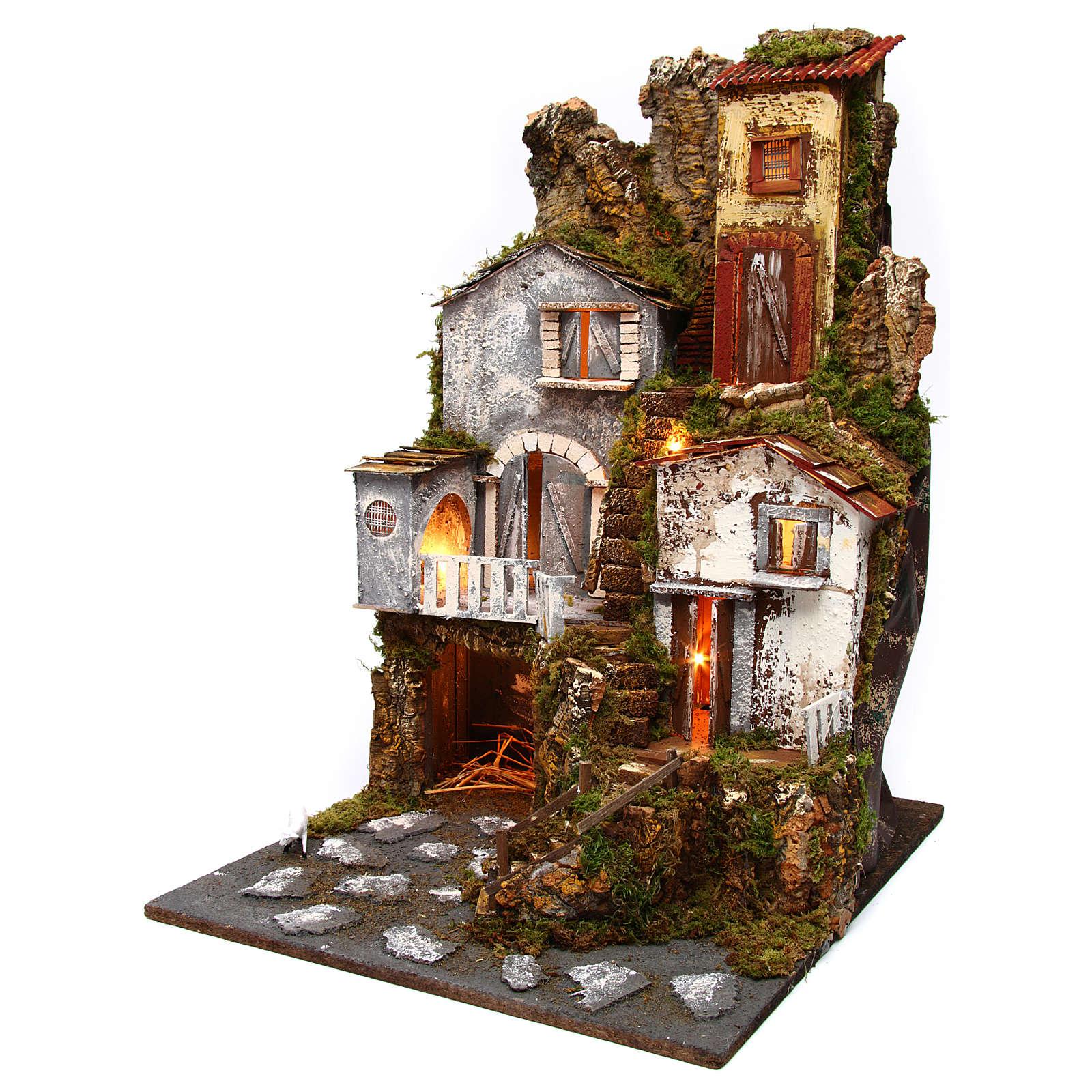 Borgo con luci 45x50x70 presepe MOD. B 4