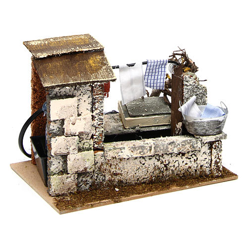 Fountain with pump 20x14x17 cm for nativity scene 3