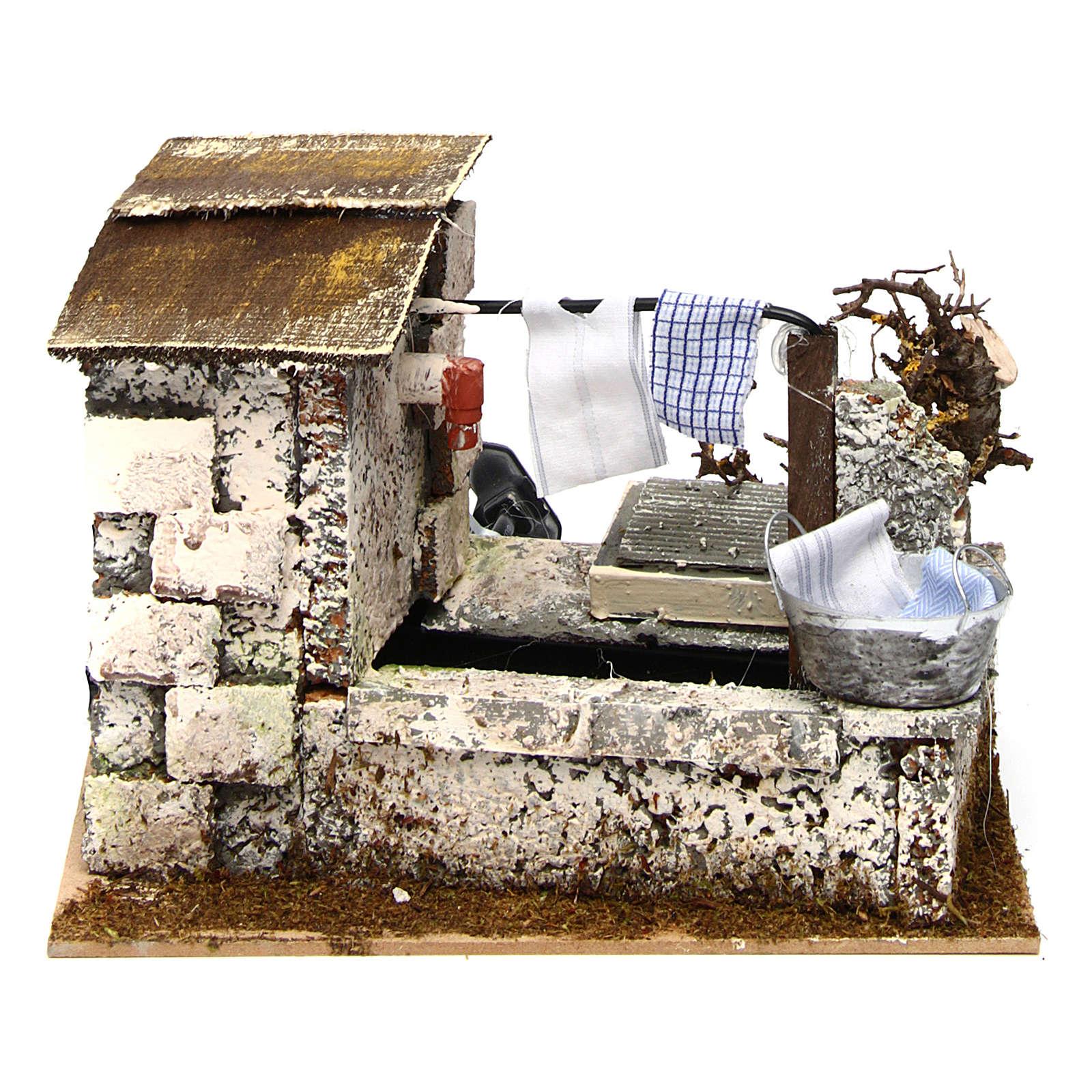 Fontana panni che sgocciolano pompa 20x14x17 cm presepe 4