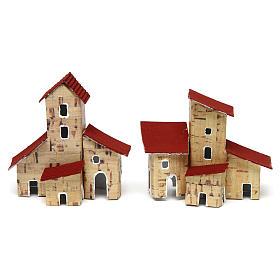 Maisons, milieux, ateliers, puits: Maisons crèche 2 pcs 6,5x4x7 cm