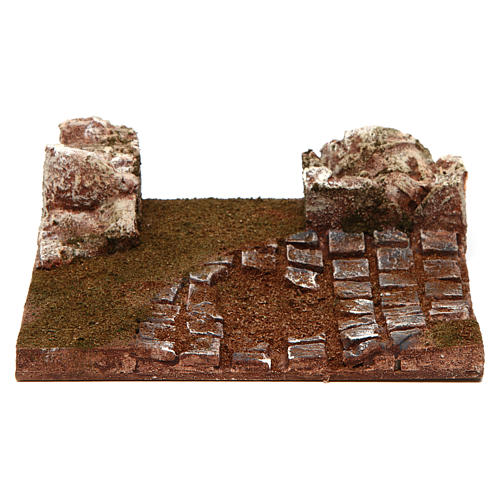 Modular road with bend and rocks 10 cm 1
