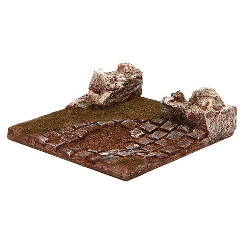 Modular road with bend and rocks 10 cm 2