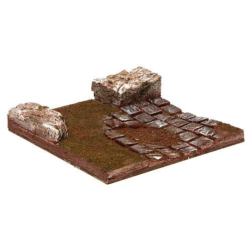 Route à composer virage avec rochers 12 cm 3