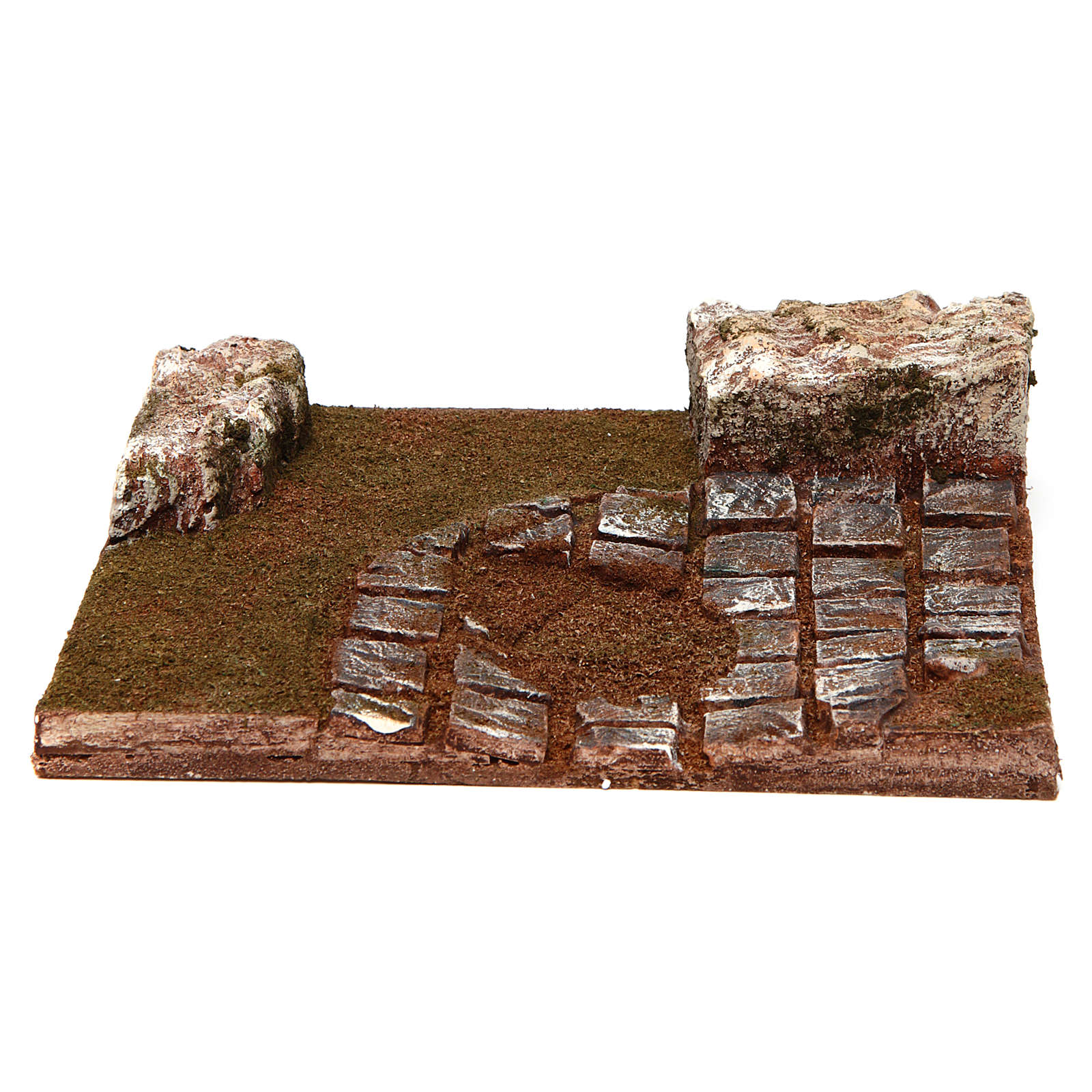 Strada componibile curva con rocce 12 cm 4