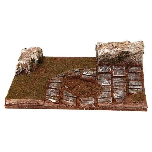Strada componibile curva con rocce 12 cm 1