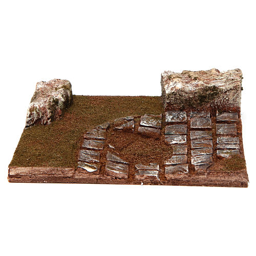 Joinable bended road part with rocks for Nativity Scene 12 cm 1