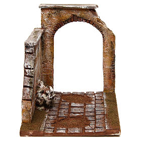 Joinable road part with wall and arch for Nativity Scene 12 cm s1