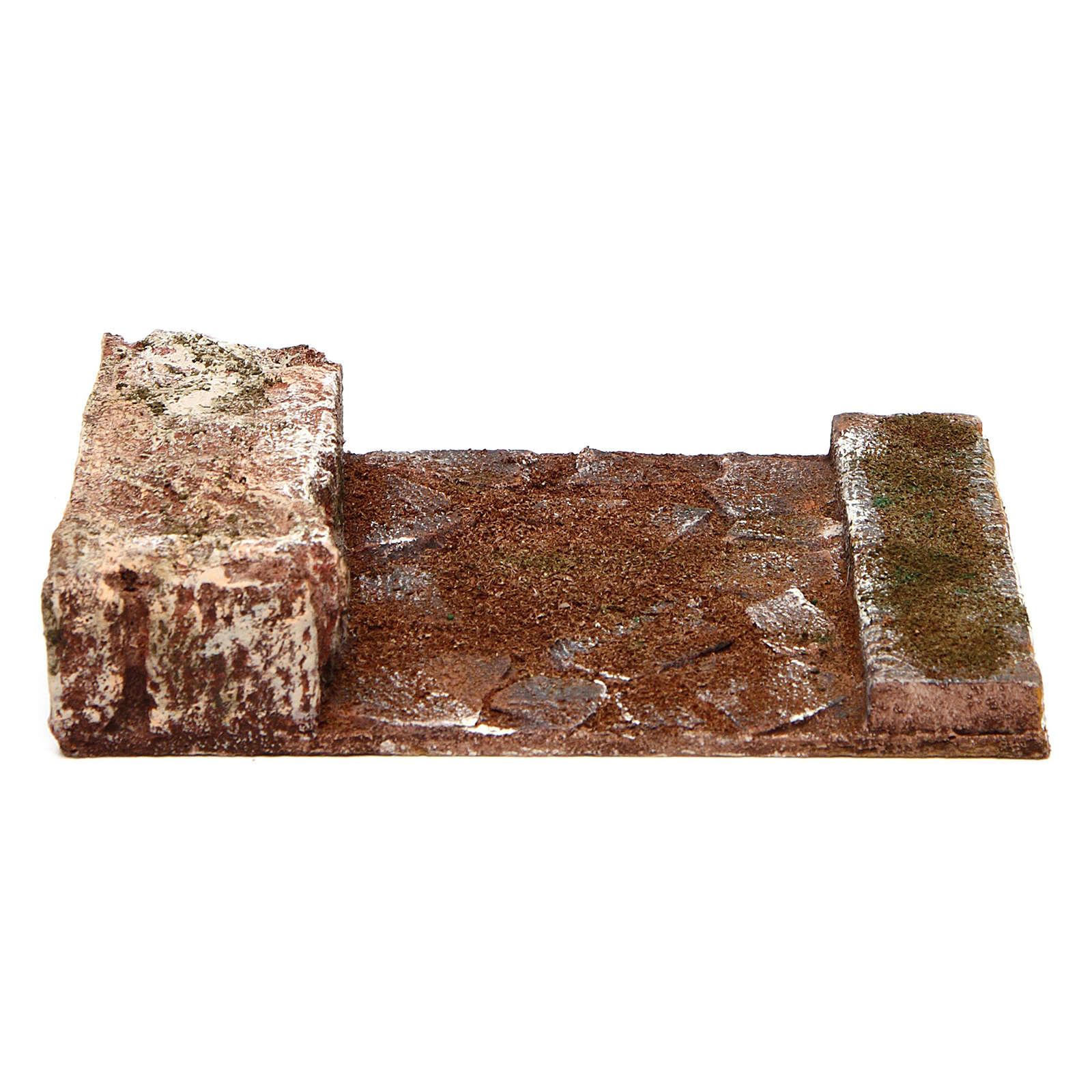 Strada rettilineo con roccia presepe 10 cm 4