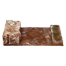 Ambientazioni, botteghe, case, pozzi: Strada rettilineo con roccia presepe 10 cm