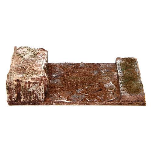 Strada rettilineo con roccia presepe 10 cm 1