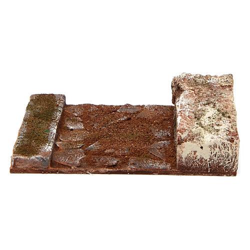 Strada rettilineo con roccia presepe 10 cm 2