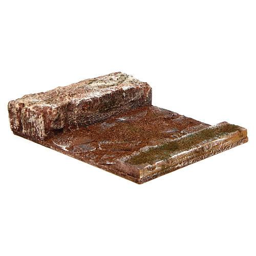 Strada rettilineo con roccia presepe 10 cm 3