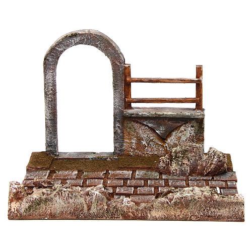 Portion route avec arc et mur crèche de 12 cm 1