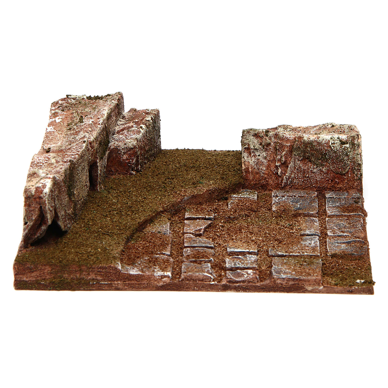 Joinable road part with wall for Nativity 10 cm 4