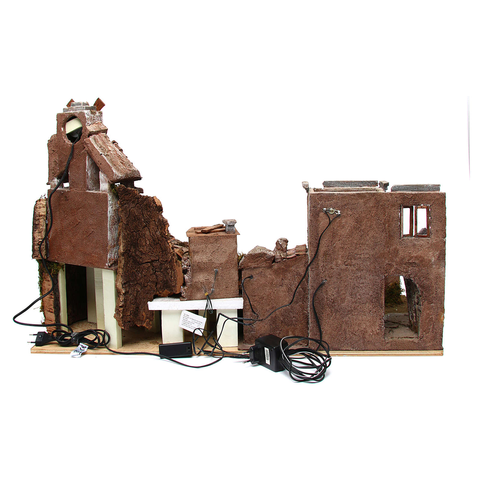 Village for nativity scene with mill and lights 80x40xh.50 cm 4