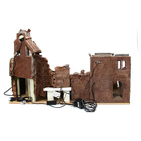 Village for nativity scene with mill and lights 80x40xh.50 cm s4